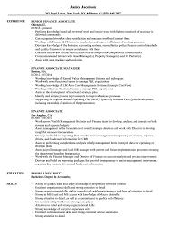 Sample Financial Associate Resume Finance Associate Resume Samples Velvet Jobs 1
