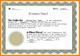 Corporate Stock Certificate Template Word 5 Guatemalago