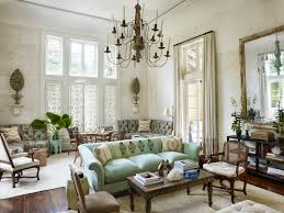 Vintage Chandelier With White Wall Paint Decorating And Ceiling Also Green  Sofa And Couches Also Soft ...