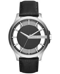 armani exchange armani exchange macy s a x armani exchange men s black leather strap watch 46mm ax2186