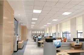 lighting in an office. led light panels installed in a much more modern looking office lighting an f