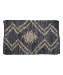 tag navy geometric leather rug