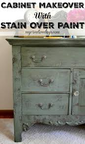 cabinet makeover with stain over paint idea more