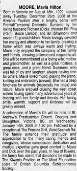 Obituary for Mavis MOORE Hilton, 1929-2008 - Newspapers.com