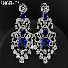 2018 whole angelcz european luxury bridal chandelier drop long earrings dark blue cubic zirconia vintage women large wedding jewelry ae015 from