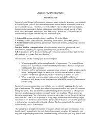 design for instruction assessment plan
