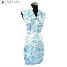 Elegant Navy Blue Ladies Satin Cheongsam Fashion <b>Mini</b> Qipao ...