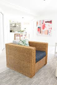 modern beach cottage makeover family room rattan chair