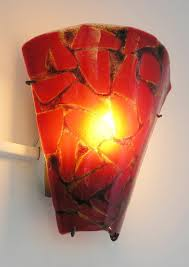 red ceramics art glass wall sconce abstract transparant yellow lighting mounted lamp lamp design interior