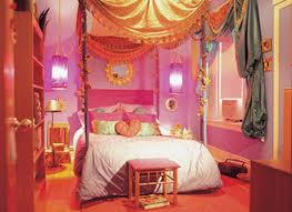 Orange And Pink Bedroom White Wooden Bed With Pink Bedding Set Placed On The Middle Of