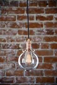 spokane pendant light copper mid century modern industrial clear glass globe cloth wire plug in canopy edison bulb