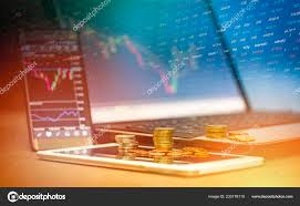 Stock Future Charts Stock Forex Trading Gold Coin Investment Laptop Tablet