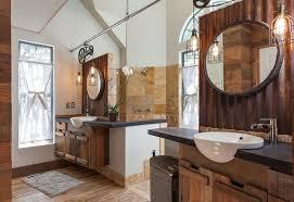 bathroom pendant lighting ideas. rustic dual sink bathroom with wire cage pendant lights lighting ideas l