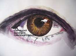 brown human eye water colour painting by gabriellesgifts