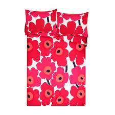 marimekko unikko red full queen duvet cover set