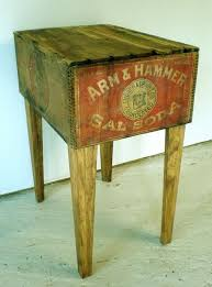 awesome vintage end table from arm hammer wooden crate