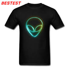 Black T Shirt Design Us 7 32 40 Off Comics Tshirts Alien Neon T Shirt Men Black T Shirts Geek Logo Design Clothes For Students 100 Cotton Tops Family Tees 3d In