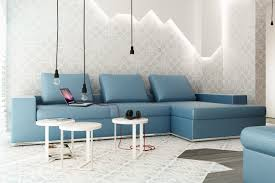 chic light blue leather sectional blue couch living room ideas