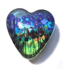 held glass heart blue poppy