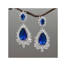 blue crystals chandelier bridal earrings