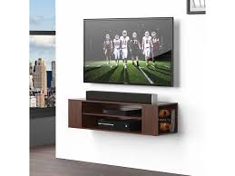 fitueyes wood floating shelves wall mount tv stand media console for screen lcd