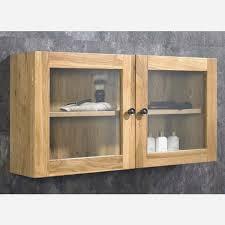 solid oak wall mounted double door bathroom glass cabinet