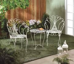 white metal patio chairs. WHITE IRON METAL BISTRO SET - PEACOCK-INSPIRED White Metal Patio Chairs