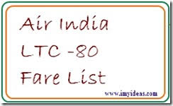 Air India Latest Ltc 80 Fare List Packages Central
