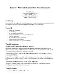 Executive Administrative Assistant Resume Example For Summary With