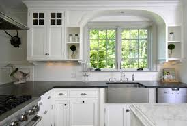 white kitchen cabinets with black countertops. Classic Kitchen White Cabinet With Black Countertop And Glass Window Cabinets Countertops