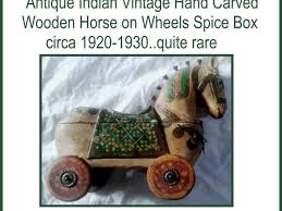 antique indian vintage hand carved wooden horse on wheels e box circa 1920 1930