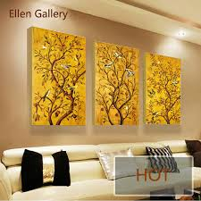 Modern Art Paintings For Living Room Aliexpresscom Buy 3pieces Golden Tree Modern Art Canvas