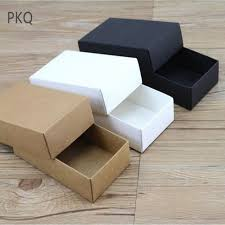 Gift Cardboard Boxes 10pcs White Kraft Paper Gift Cardboard Box Craft Packaging Box Black