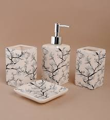 4 Piece Bathroom Accessory Set Buy Go Hooked Cream Ceramic 4 Piece Bathroom Set Online