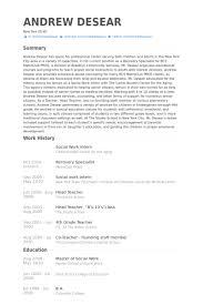 Social Work Intern Resume Samples Visualcv Resume Samples Database