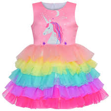 Skirt Size Chart For Toddlers Details About Us Stock Girls Dress Pink Unicorn Ruffle Rainbow Cake Skirt Size 3 8