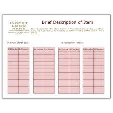 Bid Sheet Template Using Bidder Numbers Volunteer Silent