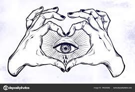 Dvě Ruce Dělat Srdce Znamení S Okem Plakat Slzy Stock Vektor