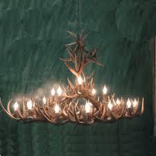 peak extra large oval whitetail deer antler chandelier 18 light