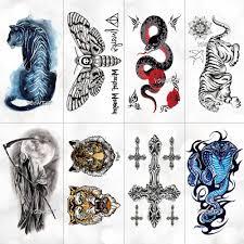 эскиз моли смерти тигра шаблон временные татуировки стикер женский