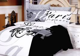 paris bedroom theme with black and white bed cover color idea