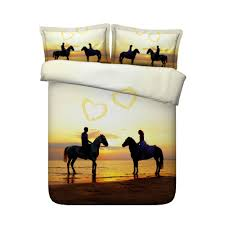 67 3d couple ride the horses on the beach printed 4 piece bedding sets duvet