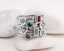 Design Your Own Stackable Rings Design Your Own Stacking Ring Set With Birthstones And