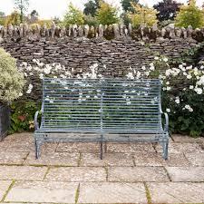 garden metal furniture. verdigris roll top 3 seater metal garden bench furniture f