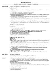Associate Pricing Analyst Resume Samples Velvet Jobs