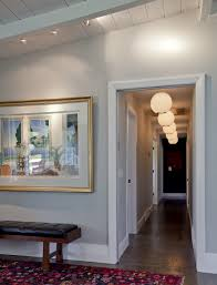 contemporary hallway lighting. Chic Balls Pendant Lamps As Inspiring Midcentury Hallway Lighting Ideas Well Black Leather Benches Under Artwork Pictures Frames In Grey Interior Contemporary T