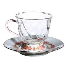 Высокие фьюжн <b>чашки</b> с блюдцами с розовым <b>орнаментом</b>, 2 ...