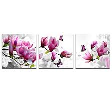 cao gen decor art ah40233 canvas prints pink flower 3 panels stretched canvas on canvas wall art pink flowers with amazon cao gen decor art ah40233 canvas prints pink flower 3
