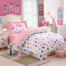 kids colorful polka dot cute comforter bedding sets twin size 100 cotton bedspreads with reversible duvet cover sheet pillowcase 3 grey and blue bedding