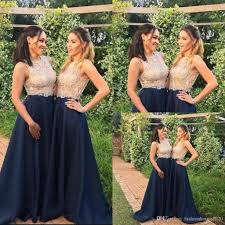 Light Blue Sparkly Bridesmaid Dresses Sparkly Bridesmaid Dresses Navy Blue And Gold Jewel Neck 2018 Major Beading Sweep Train A Line Wedding Guest Dress Party Prom Evening Gowns Dark Red